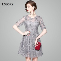 New Lux Party Lace Embroidery Dress 2018 Spring Summer Women Grey Apricot Dress Half Sleeve Vintage