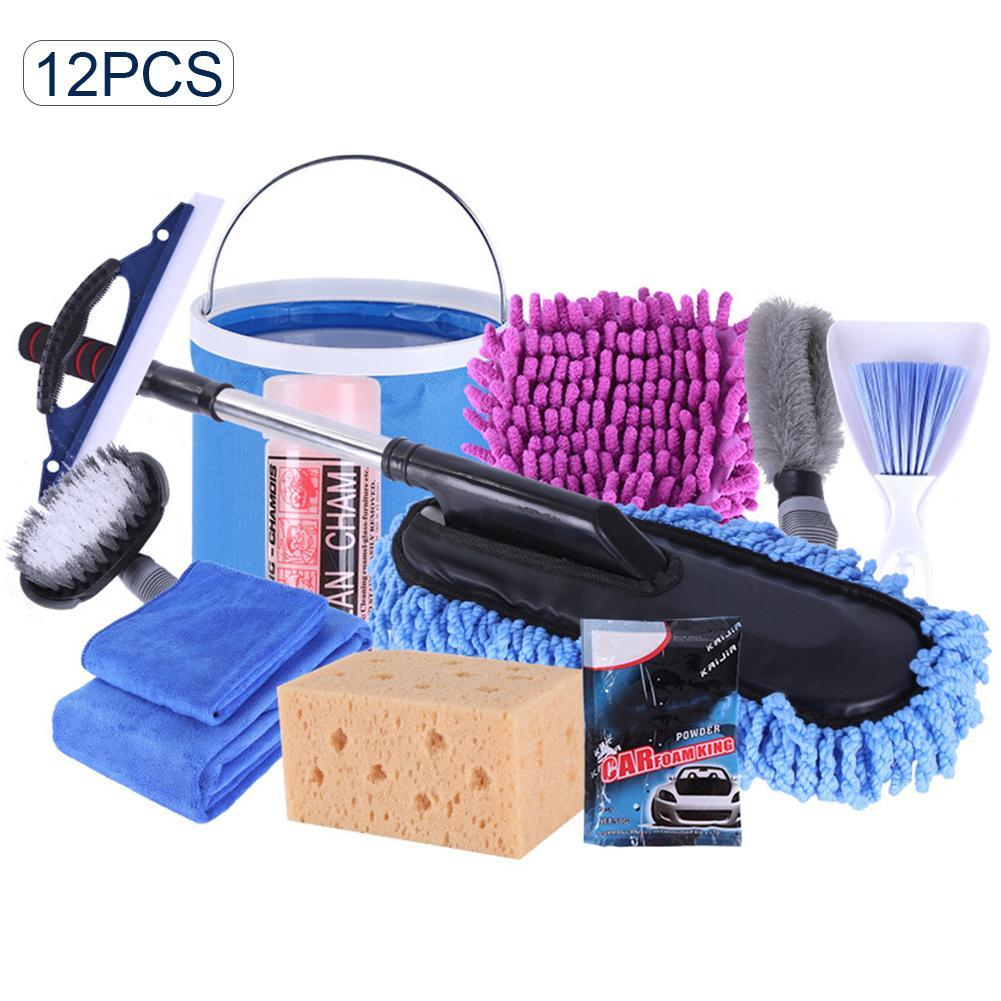 Kit d'outils de nettoyage de voiture 12 pièces Kit d'outils de lavage de voiture serviette vadrouilles brosse de dépoussiérage fournitures de nettoyage de voiture