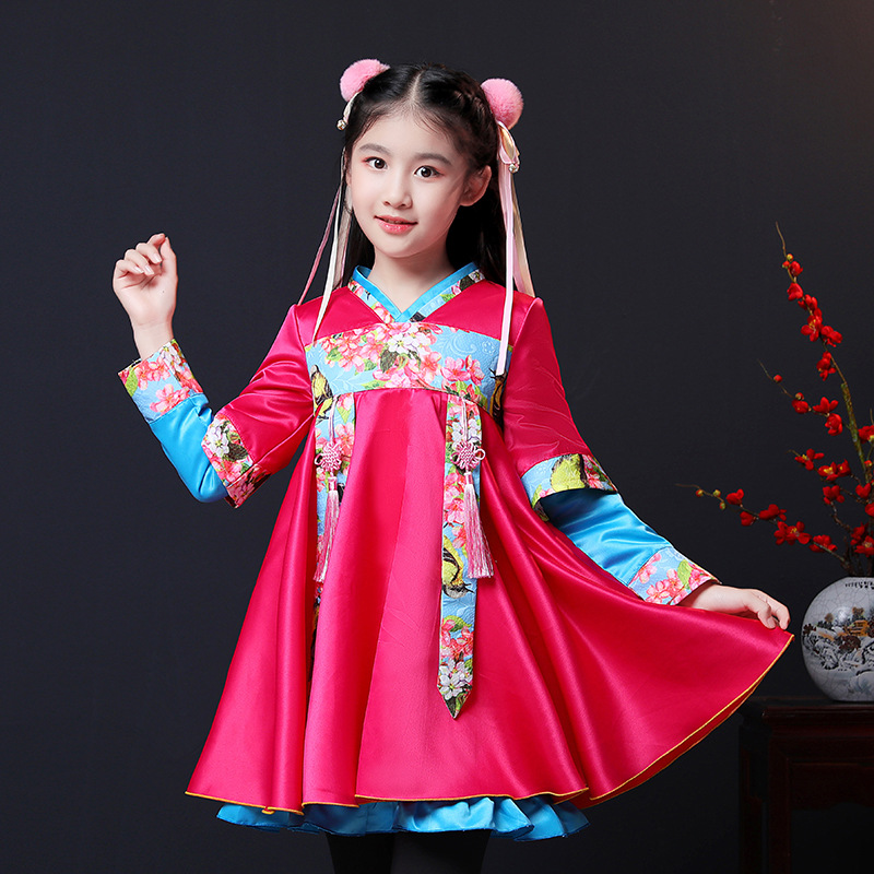 4286 WinterChristmas Dress Girls Retro Ancient  New Year Clothes Long Sleeve Splice Large Nationality Wind Princess Dress4286 WinterChristmas Dress Girls Retro Ancient  New Year Clothes Long Sleeve Splice Large Nationality Wind Princess Dress