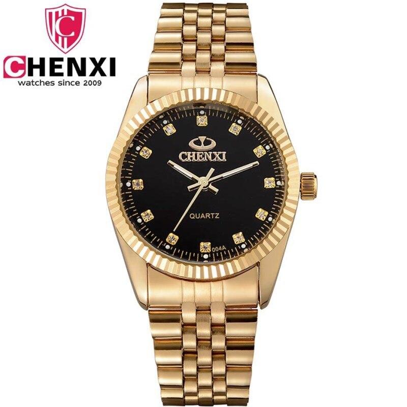 CHENXI Gold Watch Men Golden New Clock Gold Fashion Men Watches full gold Stainless Steel Quartz watches WristWatch Wholesale цена 2017