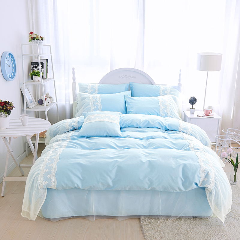Light Blue Bed Skirt.Us 19 6 35 Off Light Blue Purple Pink Princess Style White Lace 100 Cotton Bedding Set Duvet Cover Bed Skirt Pillowcases Twin Queen King Size In
