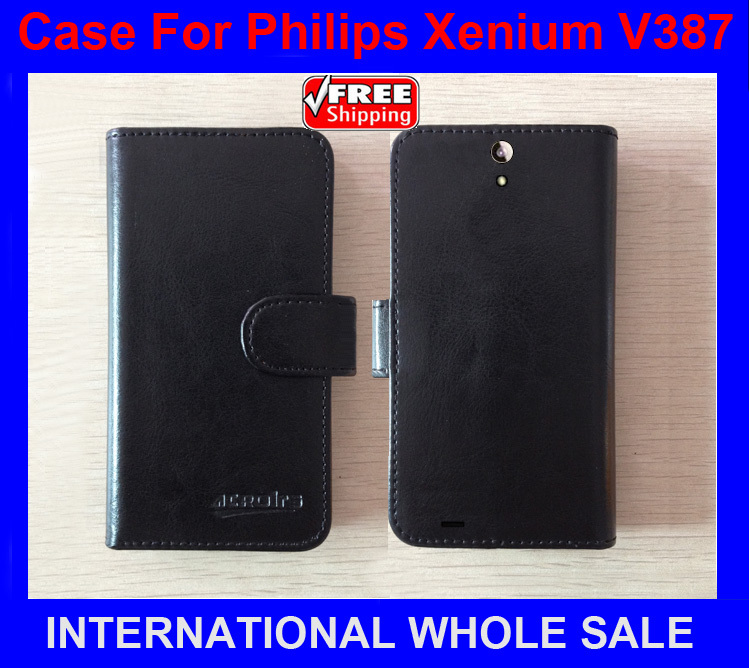 Hot! 2016 High Quality New Original phone case for Philips Xenium V387 Flip Leather Case for Philips V387 Case tracking number image