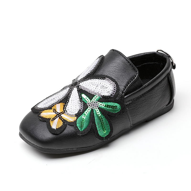 2017 Autumn Children Shoes Girls Shoes Casual PU Leather Slip On Fashion Embroidery Soft Sole Kids Shoes For Girl Princess Flat
