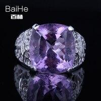Baihe SOLID 14 К из белого золота (au585) 8.5ct сертифицированных фиолетовый/безупречной подлинной Аметист Свадебные Для женщин Мода Ювелирные украшен