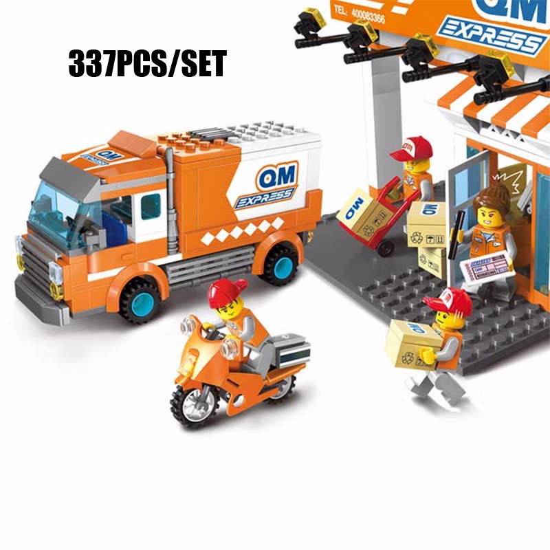 337PCS City Express Delivery Truck Model Courier Station Fast Mail Courier Figure Building Block Bricks Educational Toy For Kids