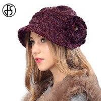 FS Lady Brown Fuchsia Knit Beret Hat Autumn Winter Elegant Wide Brim Wool Warm Cap With