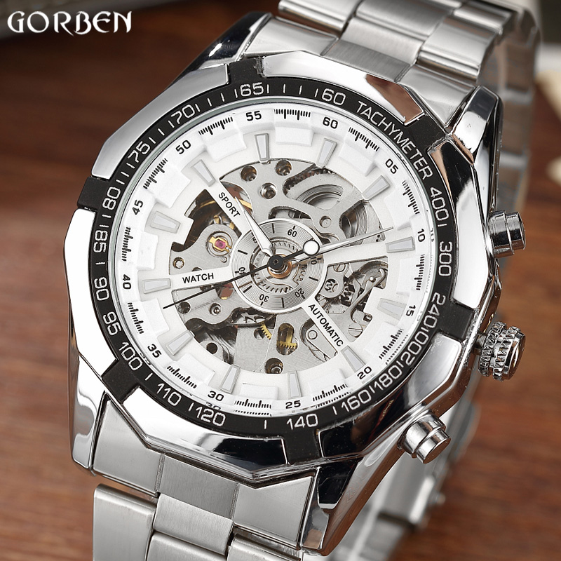 New Luxury Brand Silver Winner Luminous Automatic Mechanical Skeleton White Dial Watch Steel Band Mens Bracelet Wrist Watch Gift fashion leisure sport automatic mechanical wrist watches for mens clock luxury brand leather band skeleton dial steel mens watch