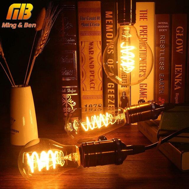 [MingBen] Vintage Edison LED Bulb E27 ST64 G95 A60 Dimmable 110V 220V Soft LED Filament Lamp 3W Bulb Spiral Design Warm Yellow