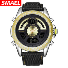 SMAEL LED Digital Watch Men 1369 Brand Luxury Reloj Hombre Sports Watches Leather Strap Waterproof Wristwatch Gifts for