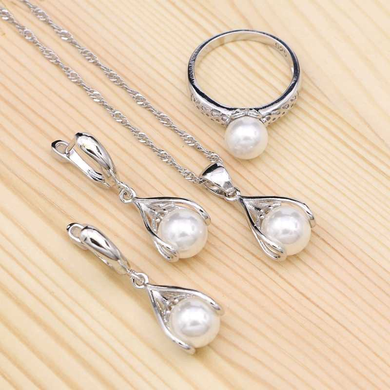 White Pearl 925 Silver Bridal Jewelry Set For Women Wedding Party Decoration Drop Earrings/Ring/Pendant/Necklace Set