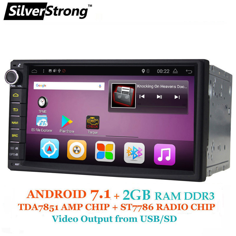 SilverStrong Android7.1 2Din 7inch GPS Car Radio Universal 2GB RAM 16G ROM Auto Stereo 2Din Car GPS with DAB+ 707-2G