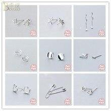 BOAKO Genuine 925 Sterling Silver Earrings for Women Twist Spiral Ear Buckle Ring Safety Pin/Snake/Dragonfly/Star Stud