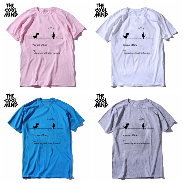 100% cotton dino male summer loose funny print dinosaur t shirt 1