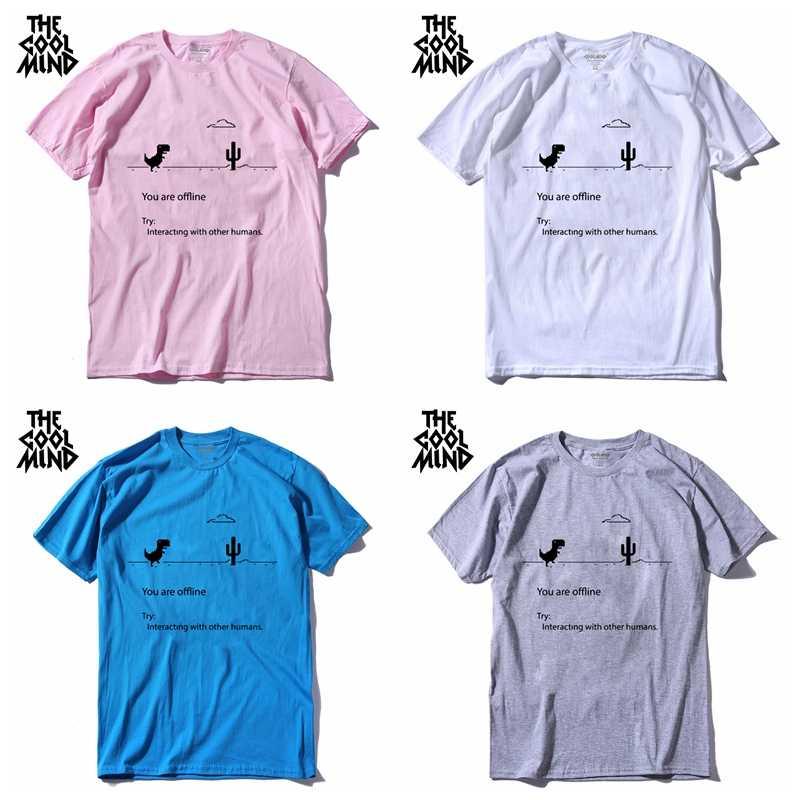 COOLMIND 100% 코 튼 남자 dino tshirt 남성 여름 느슨한 재미 t-셔츠 티 셔츠 남자 인쇄 공룡 t 셔츠