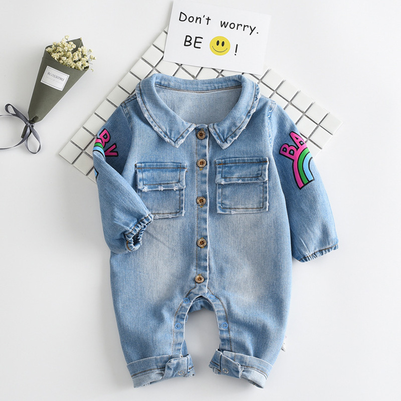 0-2 years baby boys clothing 2017 autumn new fashion cotton denim One pieces rompers sleeved rainbow clothes for toddlers girls baby rompers love mama papa boys girls babies clothes newbron cotton clothing with hat one pieces body suit