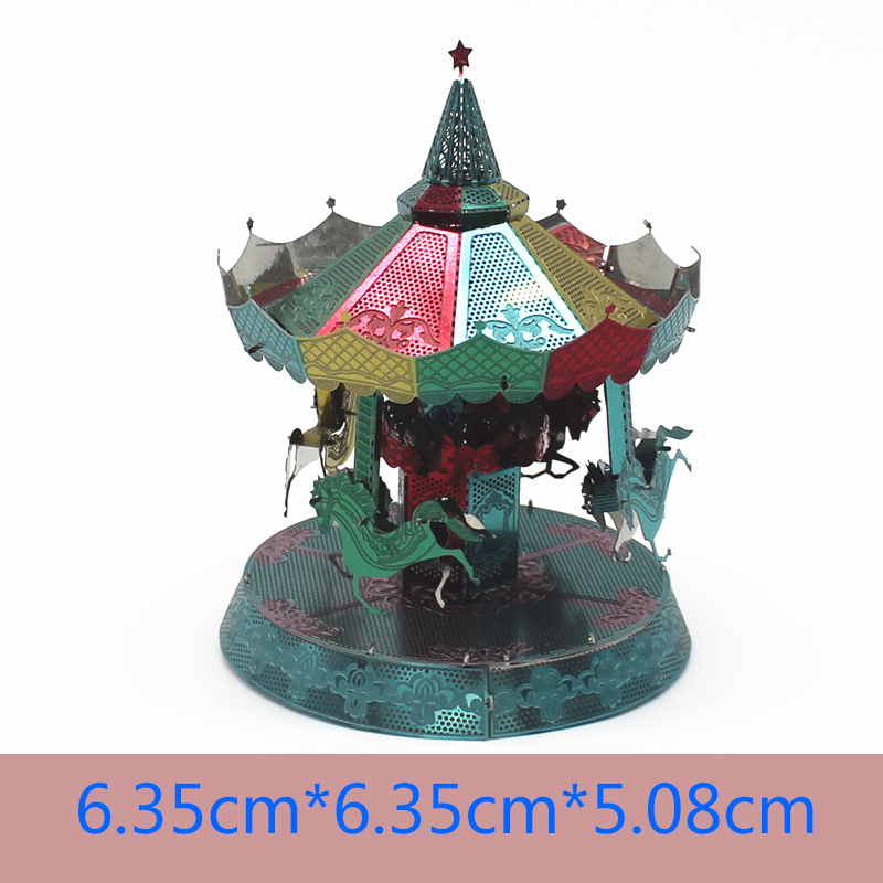 Color Series 3D Metal Puzzle DIY Multi-style Puzzle Kit Laser Cutting Color Carousel Child Gift Adult Puzzle Mould Puzzle