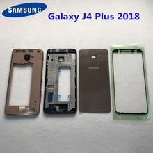 Do Samsung Galaxy J4 + 2018 J4 plus J415 J415F SM J415F pełna obudowa LCD panel obudowa bliski rama bateria drzwi wymiana obudowy