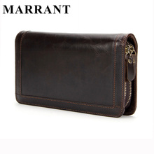 MARRANT Genuine Leather Men Wallets Double Zipper Man Wallet Men Purse Fashion Male Long Phone Wallet Man's Clutch Bags 9013