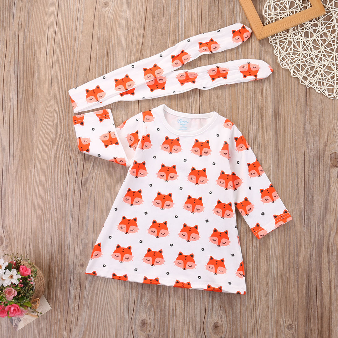 2017-Spring-Newborn-Baby-Girl-Clothes-Long-Sleeve-Cotton-Fox-Dress-Headband-2PCS-Outfit-Infant-Bebes-Casual-Dresses-2