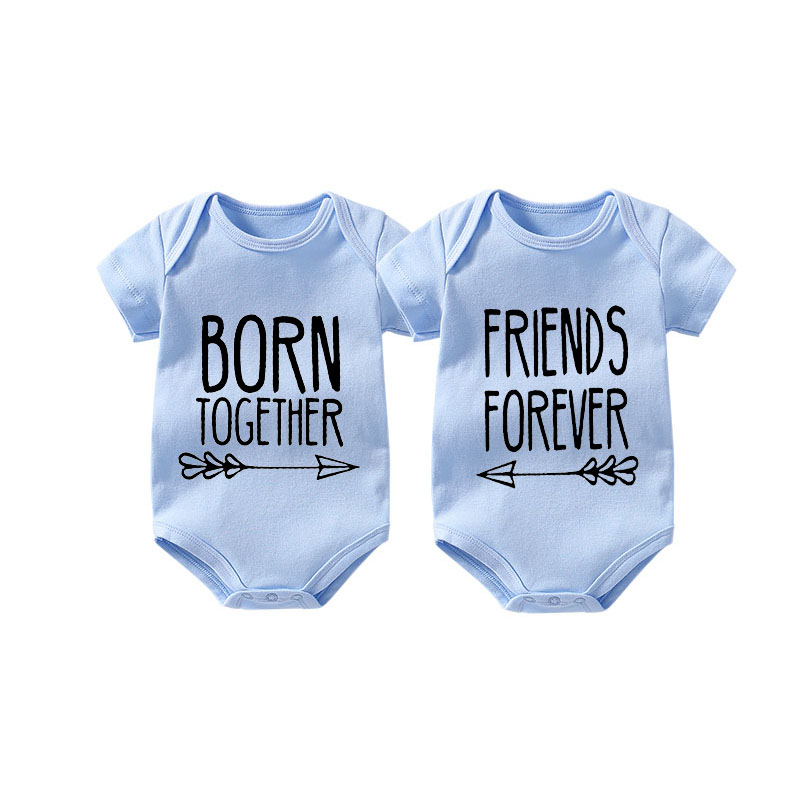 Born together friends forever twin one piece set infant twin bodysuits best friend babies