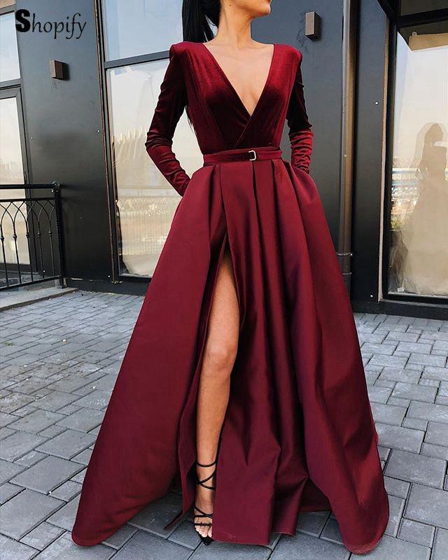 Lange Prom Kleider 2019 Sexy Tiefem V ausschnitt Lange Ärmel Hoch Geschlitzt Afrikanische Mädchen Burgund Samt Prom Kleid - 3