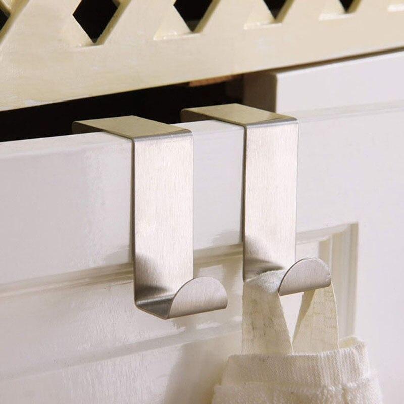 2PCS/SET Stainless Steel Self Home Kitchen Wall Door Holder Hook Hanger Hanging Coat Hooks