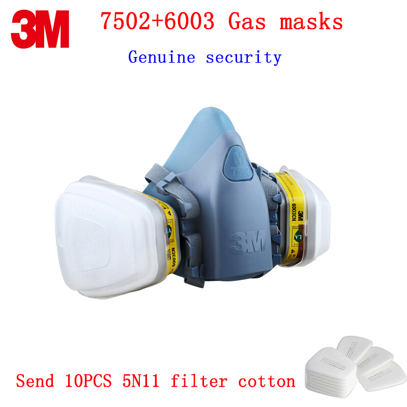3M 7502+6003 respirator gas mask Genuine security 3M protective mask against Organic vapor Chlorine gas chemical gas mask 7502 of reusable respirator mask gas mask portable respirator protective fire masks