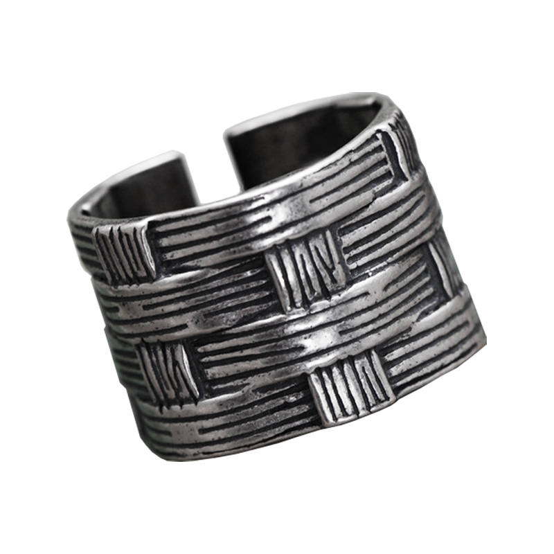 Solid 925 Sterling Silver Braided Rings For Men And Women Simple Vintage Style Resizable Biker Rings