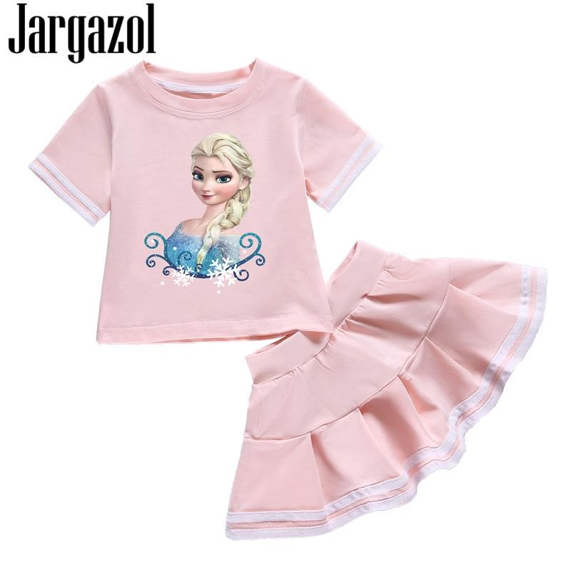 Jargazol Baby Girls Clothes Cartoon Elsa Printed Summer Shirt&skirt Toddler Girl Clothing Set Tracksuits Sport Children Clothes