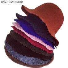 Wool Felt Bowler Fedora Hat Dome Short Brim Hats Female British Bucket Women Floppy Cloche Chapeu Feminino
