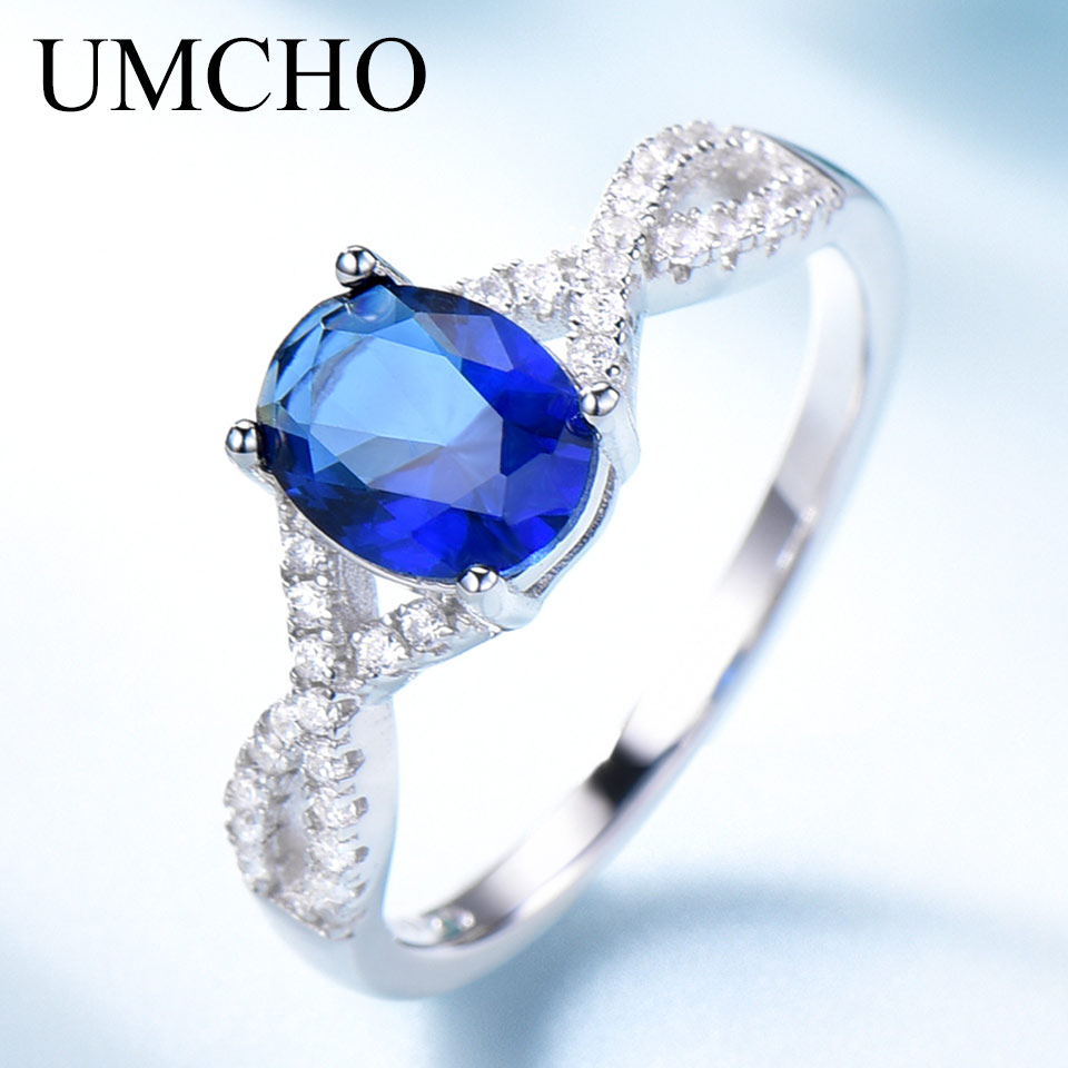 UMCHO Blue Nano Cubic Zircon Rings for Women 925 Sterling Silver Wedding Romantic Gemstone Girls Party Gift Ring Fine Jewelry(China)