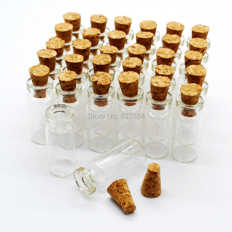 New 100PCS 0.7ml Small Mini Glass bottles Jars with Cork Stoppers ...