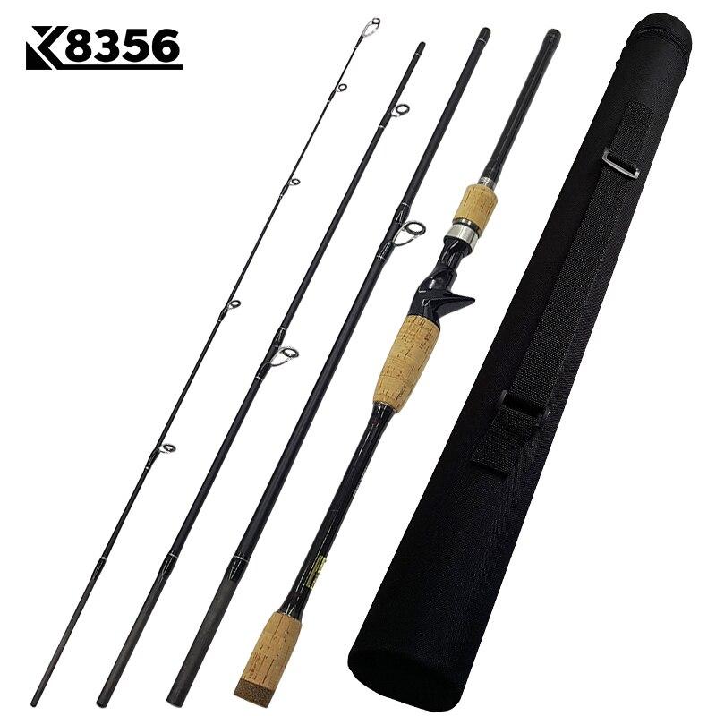 K8356 1.8-3.0 m Ultra léger Portable M puissance 4 Section en Fiber de carbone filature Baitcasting canne à pêche 10-25g 12-25Ib canne de voyage