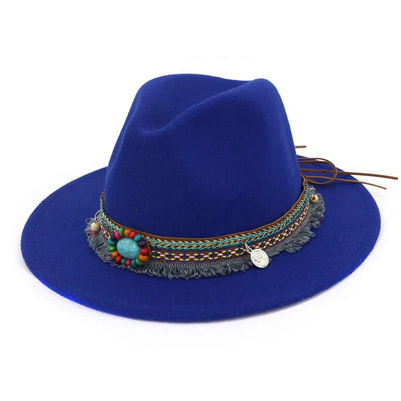 حديثا النساء الجاز قبعات القبعات بوهيميا نمط الصوف القبعات الربيع الصيف الشاطئ 19ing