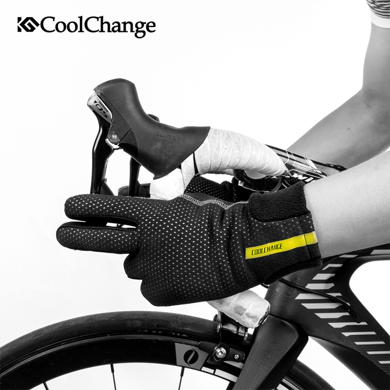 CoolChange Bicycle Gloves Winter Thermal Windproof MTB Bike Gloves Touch Screen Fleece Long Finger Cycling Gloves For Men Women rockbros cycling gloves full finger touch screen men women winter warm mtb bike bicycle windproof gloves for smartphone phone
