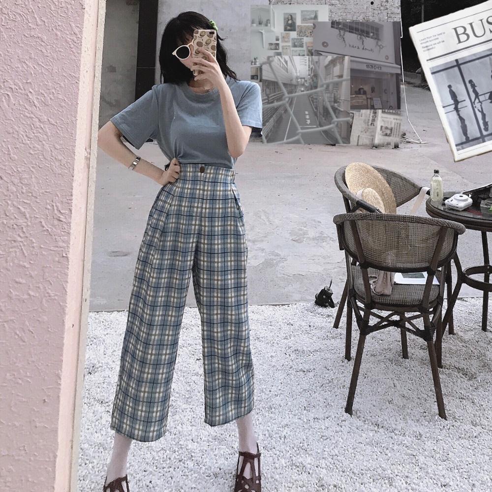 Casual Loose Retro Slim Plaid Trousers Women's Buttom Korean Punk Harajuku Ulzzang Female Cute Vintage Kawaii Trousers For Women