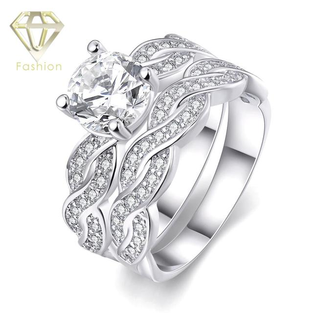 Fashion Women Wedding Rings Set White Gold Color With AAA Cubic Zirconia Double Layer Engagement