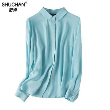 Shuchan Basic Blouse Women Long Sleeve 100% Natural Silk Cardigan Solid Office Lady Shirts High Quality Sky Blue White