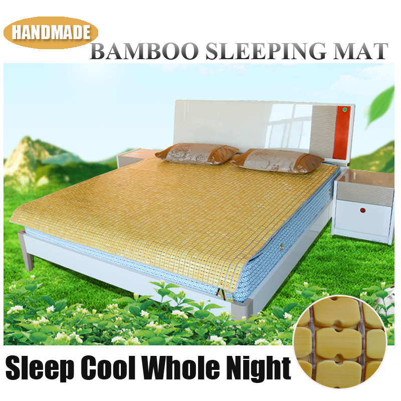 Queen Size bamboo cooling mat pad Chinese Classic Handmade Summer Cooling Bamboo Mattress Topper Bed Pad Cover Sleeping Bed Mat