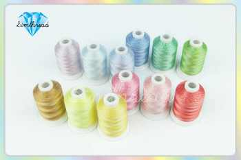 SIMTHREAD 12 Variegated Colors Polyester Embroidery Machine Thread 1000M/Spool