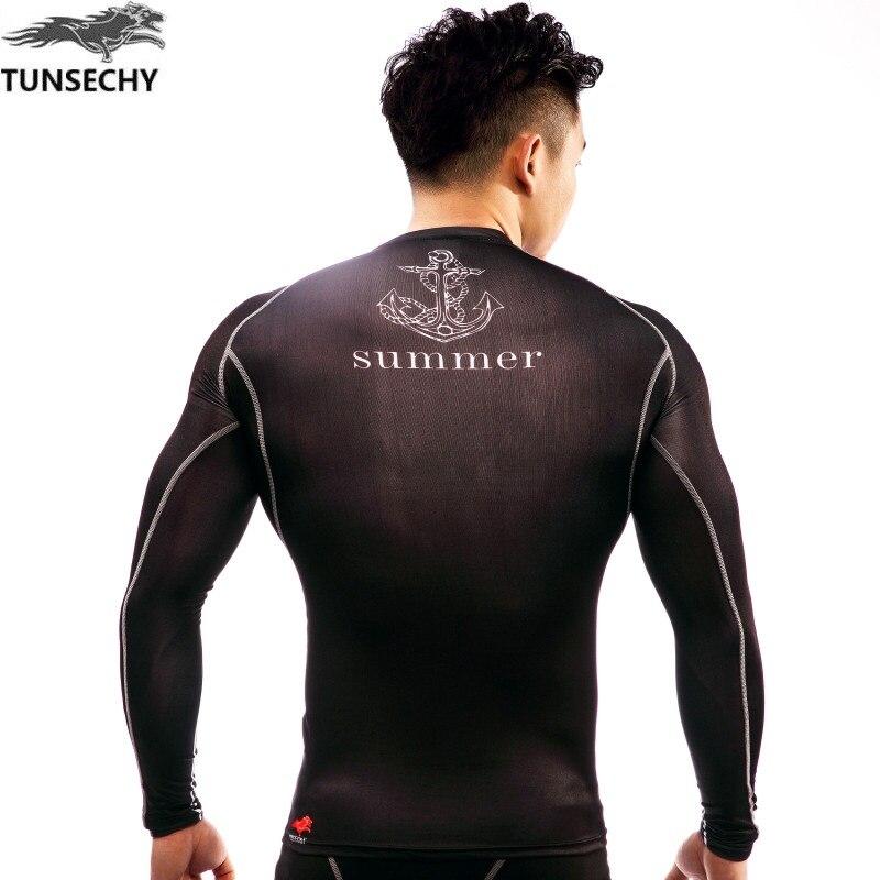 TUNSECHY marka 2017 Yeni Spor Sıkıştırma Gömlek Erkekler - Erkek Giyim - Fotoğraf 6