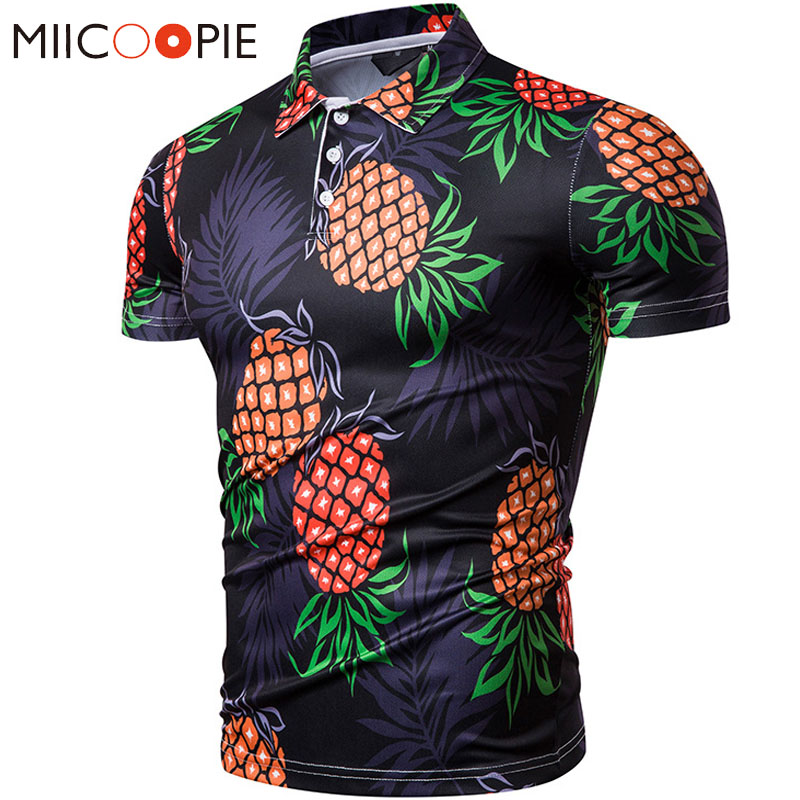 Summer   Polo   Shirt Men Casual Pineapple Printed Short Sleeved Breathable Hawaii   Polo   Homme Men Clothes 2019   Polo   Hombre Top XXL
