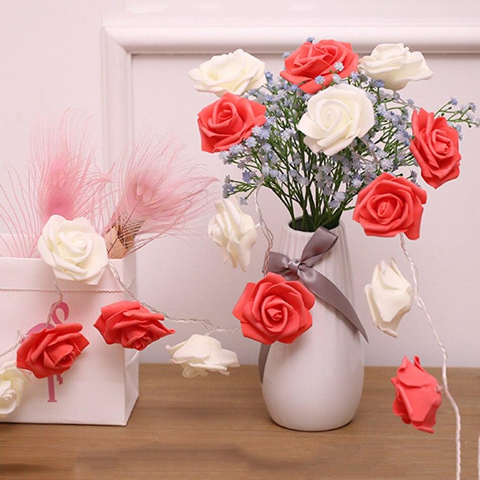 diy Vase Flower Arrangement For New Year Decoration Party Flower Light Dedicated Classic Rose Garland Led Fairy String Light 5m 40 Leds