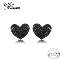 JewelryPalace Fashion 0 29ct Natural Black Spinel Love Heart Earrings For Women Solid 925 Sterling Silver