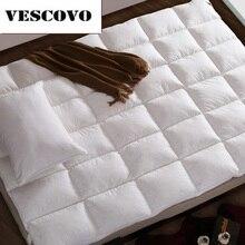100% algodão 400tc camadas duplas colchão 100% pato branco para baixo ganso pena enchimento cama esteira