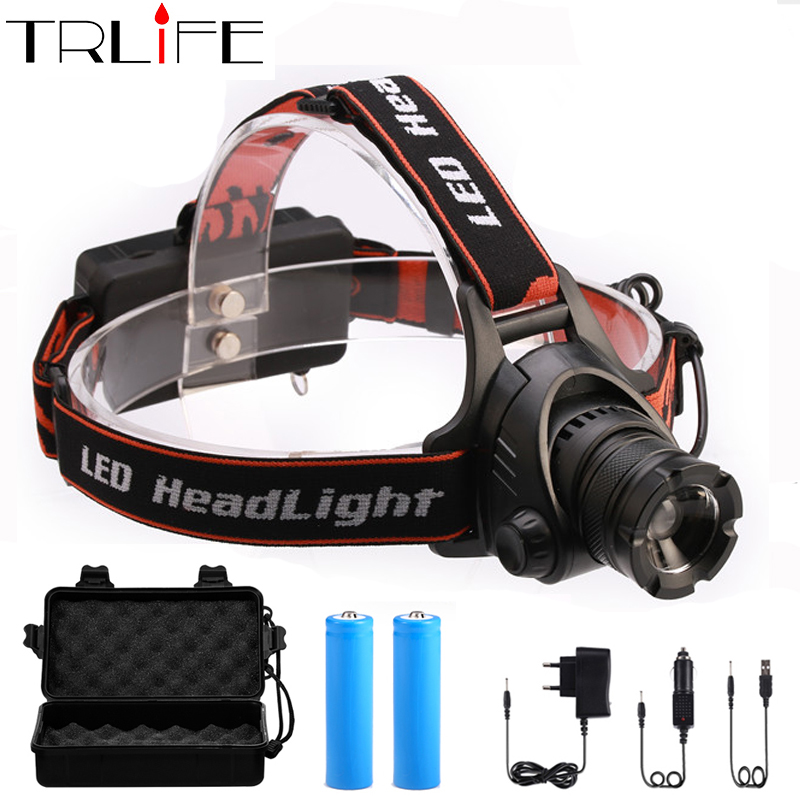 цена на LED Headlamp L2 LED 8000Lm 3 mode Zoomable Waterproof Headlamp Headlight LED Head lamp Light Flashlight By 2*18650 battery