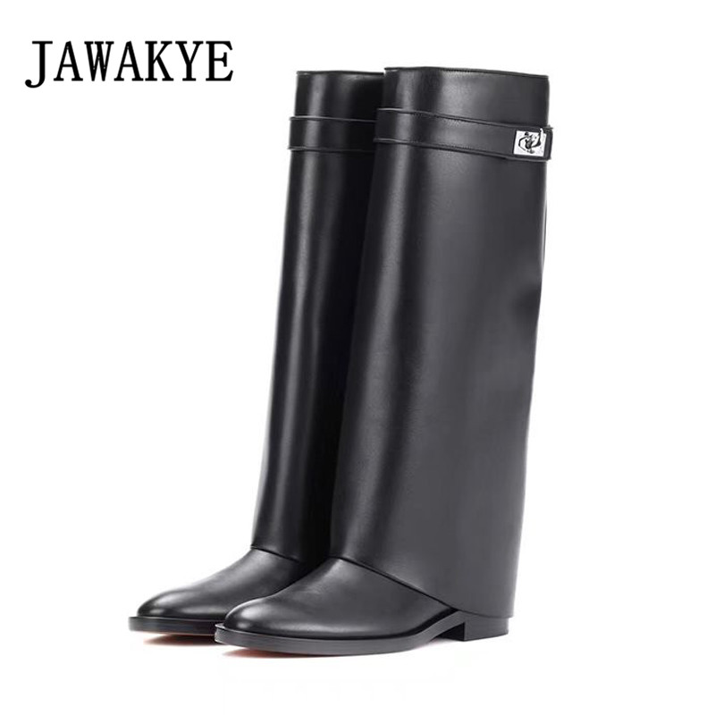 Classic Retro Black Genuine Leather Knee High Boots For Women Silver Shark Buckle Med Heels Lady Motorcycle Boots Mujer ZapatosClassic Retro Black Genuine Leather Knee High Boots For Women Silver Shark Buckle Med Heels Lady Motorcycle Boots Mujer Zapatos
