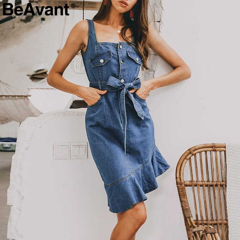 BeAvant ремень bodycon женское Синее джинсовое платье Элегантное гофрированное летнее платье русалки 2019 пуговицы джинсовые платья женские vestidos