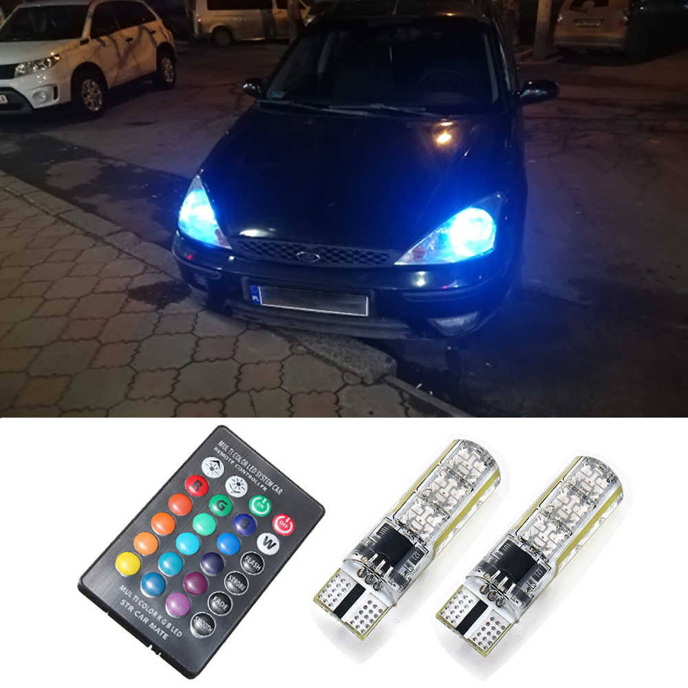 2x Remote Control T10 W5W LED Bulb RGB Car Clearance Lights For Ford Mondeo MK4 MK3 Focus 2 3 MK2 MK1 Fiesta Fusion Ranger S Max