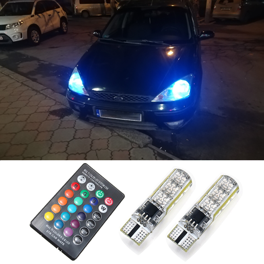 2x Remote Control T10 W5W LED Bulb RGB Car Clearance Lights For <font><b>Ford</b></font> Mondeo MK4 MK3 Focus 2 3 MK2 MK1 Fiesta <font><b>Fusion</b></font> Ranger S Max image
